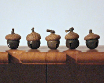 Acorn Bell Ornament or Bowl Filler - Rusty Tin Bell with Real Acorn Cap - Package of 5