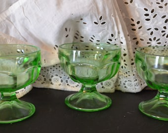 Green Glass Sherbet dishes