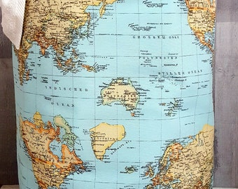 XXL MAP HAMPER 25 inches Tall Round Laundry Map World Atlas Storage Organizer Bucket Container Handmade Fabric Gift Birthday Christmas