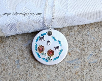 Sunflower Necklace Mother's Necklace Mother's Day Gift Jewelry For Mom Personalized Gift Hand Stamped Necklace Hand Stamped Jewelry OOAK