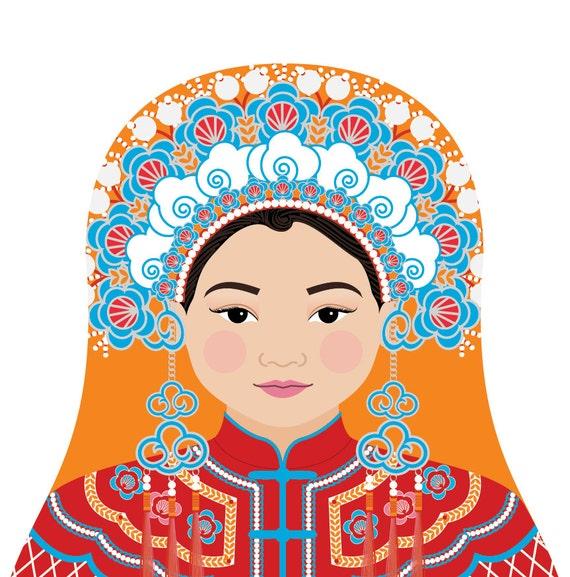 Chinese Bride Doll Art Print with traditional dress, matryoshka