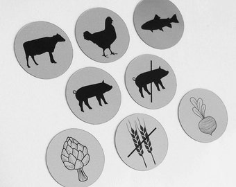 "0.75"" Round - 110 Silver Stickers - Meal Choice Wedding RSVP - FMCS0"