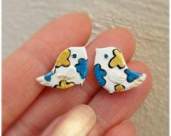 Bird Earrings, Stud earrings hand painted, Hypoallergenic post Kawaii small earrings