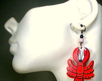 Lobster Earrings, Long Red Carved and Painted Wood Fun Dangles, Crustacean Jewelry,