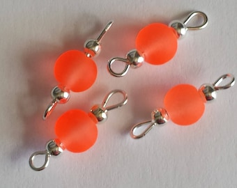 5 beads connectors, 6mm glass orange frosted