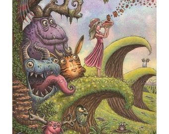 """The Calling-11""""x14"""" Fantasy, POP SURREALISM, Lowbrow Signed, Titled, Fine Art Print of Girl and MONSTERS by Fian Arroyo-Unframed"""