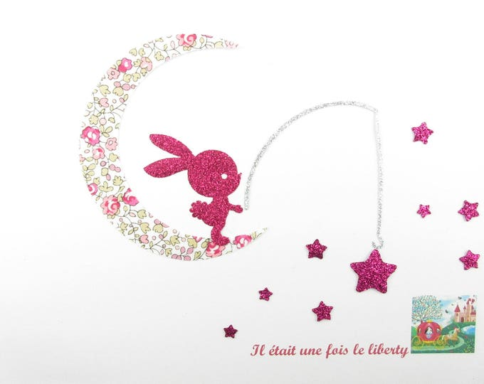 Applied fusing Bunny fishing on a fabric Moon liberty Eloise pink flex glitter liberty Bunny applique fusible patterns