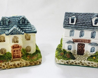 Ceramic collectible country cottages miniature figurines bank pharmacy vintage