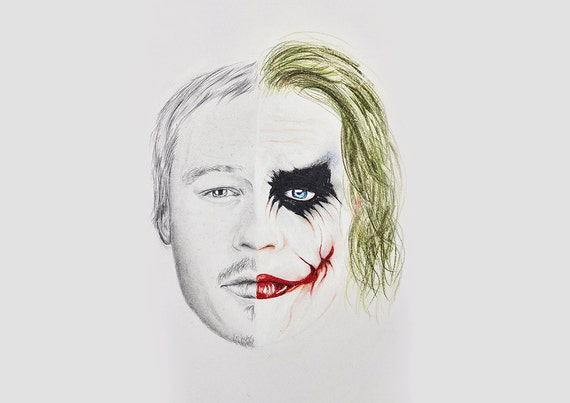 Heath Ledger The Joker Half Face Drawing Batman Dark