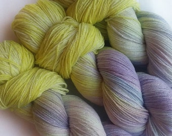 Hand dyed yarn, Water Lily, 75/20/5 super wash merino wool/nylon/lurex sock yarn, purple yarn, yellow yarn, light blue yarn