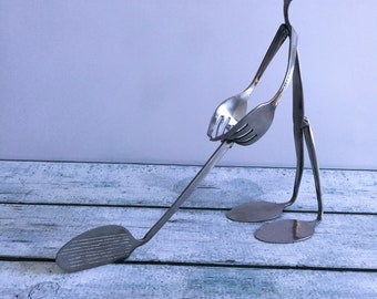 """Handcrafted """"Forked Up"""" Art - The Golfer"""