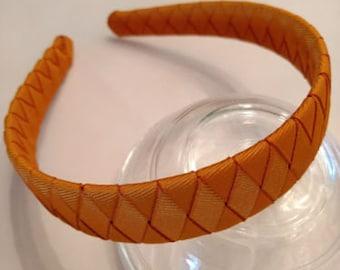 HaNdMaDe Grosgrain 4 Ribbon WOVEN headband solid BURNT ORANGE