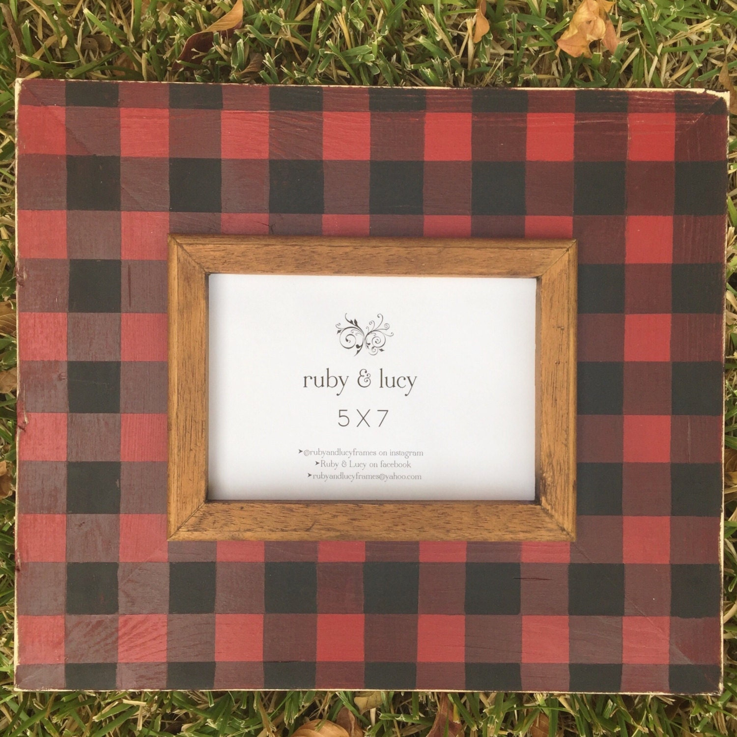Buffalo check woodsy distressed wood picture frame red request a custom order and have something made just for you jeuxipadfo Gallery