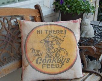 "Vintage Feed sack Pillow Cover - Black and Tan Buffalo Check 18""x18"""