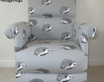 Prestigious Grey Hedgehogs Fabric Adult Chair Armchair Nursery Accent Nursing Bedroom Lounge Kitchen Animals