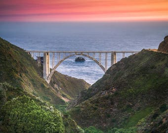 Bixby Bridge from Old Coast Road - big sur,california,office decor,sunset,pink,earth tones,office decor,home decor,clouds,coast,ocean,arch