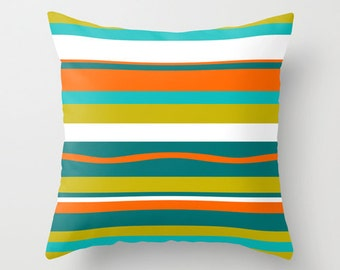 Pillows Patio Outdoor Retro Yellow Throw Pillow Mid Century Modern Home Living Striped Green Turquoise Pillow Decorative Pillows Home Decor