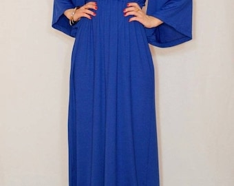 SALE Blue maxi dress Kimono dress Maternity dress Boho dress Plus size dress Long dress  Empire waist dress Royal blue dress cobalt blue
