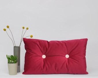 "Red Velvet Pillow, Lumbar Pillow, Decorative Pillows, Velvet Lumbar Pillow, Home Decor, Throw Pillow, Velvet Pillow Cover 12""x20"""