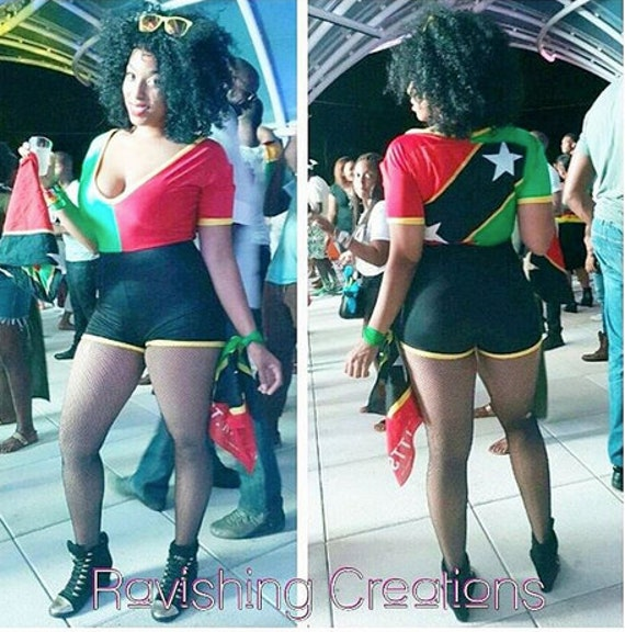 Custom St. Kitts Flag Stretch Romper Carnival Costume Flag Day Outfit *Other Countries Produced by Request