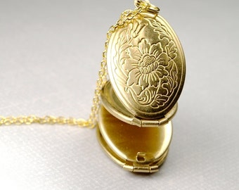 Golden Brass Oval Locket floral layered Necklace on a delicate gold plated chain