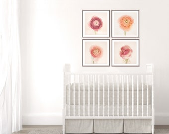 Wall Decor, Still Life Flower Photography Set of 4 prints, Ranunculus, Girl Nursery Wall Art Pink Floral Print, Nursery Decor, Home Decor