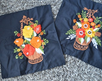Pillow Covers Set of Two Embroidered Zippered Throw Pillow Covers