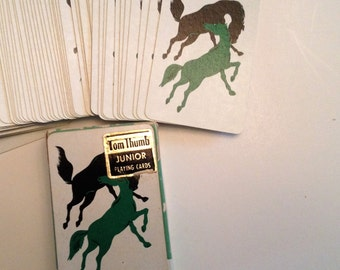 Miniature Deck of HORSE Cards Vintage 1960's Tom Thumb Junior Playing Cards Set with Original Box by Aarco Green and Black Horses