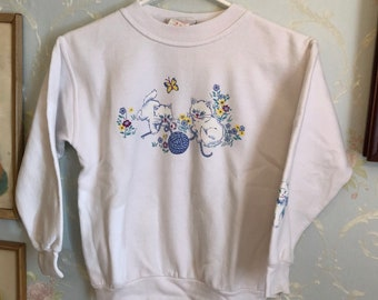 Vintage 1990s Girls White Cats Cat Kitty Northern Getaway Sweatshirt Top! Size 8-10