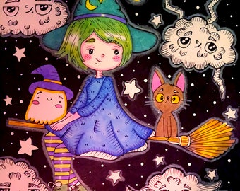 It's witchy time, a set of 2 illustrations