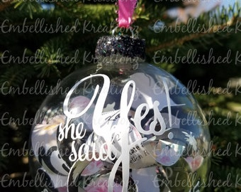Personalized Wedding Shower Ornament/She Said Yes/Bride to Be