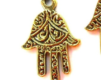 5 gold Hamsa charms, antiqued gold plated pewter, 22x14mm