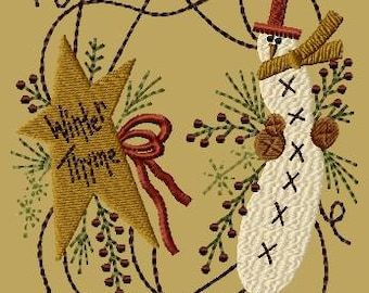 Prim Winter Wreath-Machine Embroidery Design~Version 1-(5x7)-INSTANT DOWNLOAD