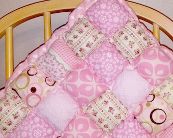 Puffy Pillow Baby Tummy Time Quilt- - Pink