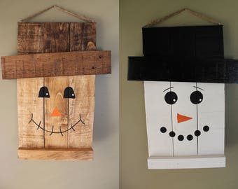 Scarecrow/Snowman Reversible Wall Plaque or Door Decoration for Fall & Winter - Wood Pallet Wall Art