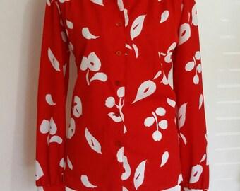 60s top, L, XL, 70s top, mod top, mod blouse, mandarin collar blouse, red top, 70s costume