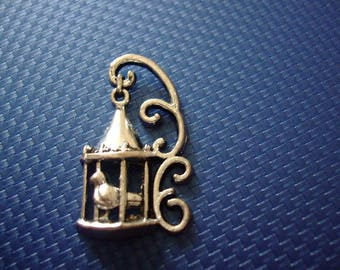 Bird cage and 35 mm x 20 mm silver charm or pendant