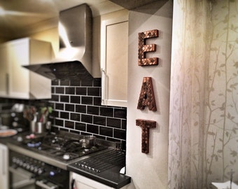EAT In Copper Penny Letters   Kitchen Decoration, Home Styling And Wedding  Styling