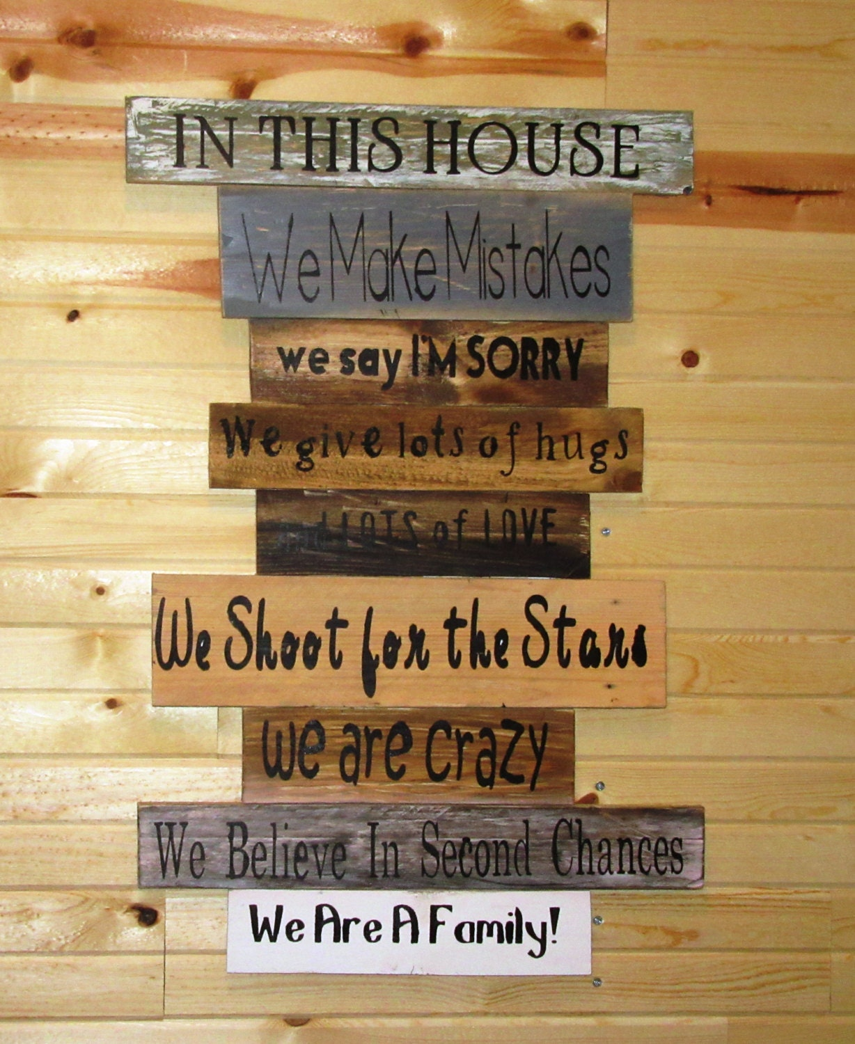 Reclaimed Pallet Wood Family Rules Sign In Our House Rules