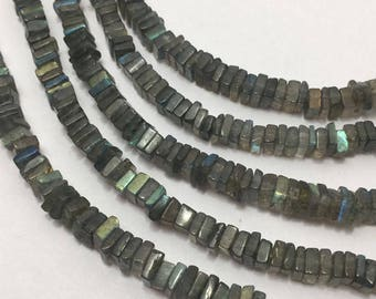 """On Sale Lot Of 5 Strands Of  Labradorite Disc Square 5 to 6 mm 8""""/Gemstone Beads/Semi Precious Beads/Labradorite Beads/Disc Square Beads"""