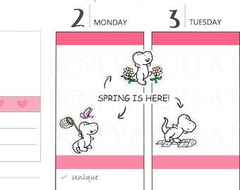 Spring Time Stickers - Catching Butterflies - Flower Stickers - Hopscotch Stickers - Seasonal Stickers - Cute Planner Stickers - (SN-001)