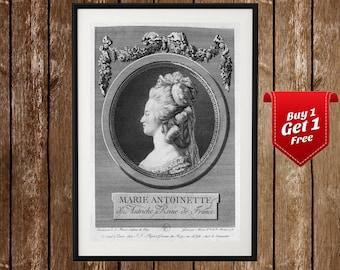 Marie Antoinette Poster - Marie Antoinette Portrait, French Revolution, Marie Antoinette Wig, Marie Antoinette Era, Black & White Portrait
