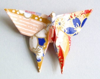 Dark blue, red and gold Butterfly Origami brooch, in folded Japanese Paper