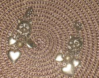 Vintage silver color cat dangle earrings