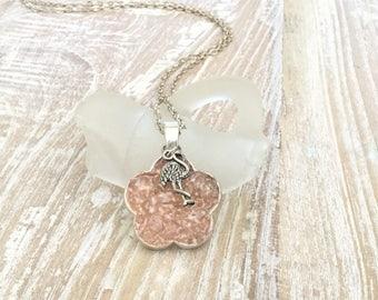 Pink Florida Sea Glass Flamingo Charm Necklace - Sea Glass Flower  - OOAK - Pink Crushed Beach Glass Jewelry