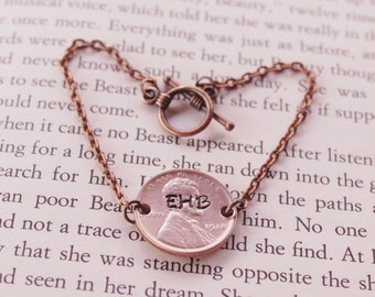 Personalized Penny Bracelet, Hand Stamped Bracelet, Personalized Bracelet, Custom Bracelet, Initial Bracelet, Anniversary Gift, Wife Gift