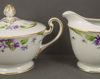Noritake China Nancy Violets Pattern Creamer & Sugar 5163 gold trim