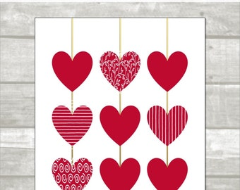 Valentine Printable:  Heart, Valentine Decor, 8x10, 11x14, 5x7 size, red and gold