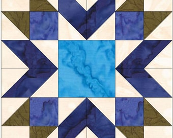 Blueberry Pie Star 15 Inch Block Paper Template Quilting Block Pattern Physical Copy