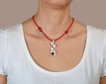 Sterling silver minimal necklace, square pendant, coral jewelry, red cord necklace, adjustable necklace, geometric pendant, women gift idea